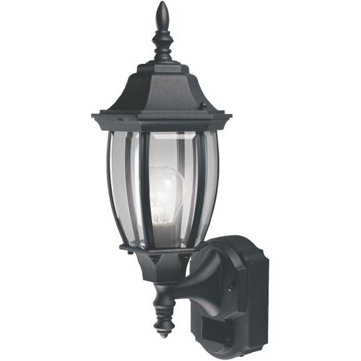 Heath Zenith Black Incandescent Dusk-To-Dawn/Motion Activated Outdoor Wall Light Fixture