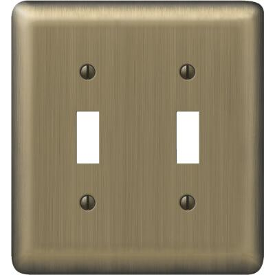Amerelle 2-Gang Stamped Steel Toggle Switch Wall Plate, Brushed Brass