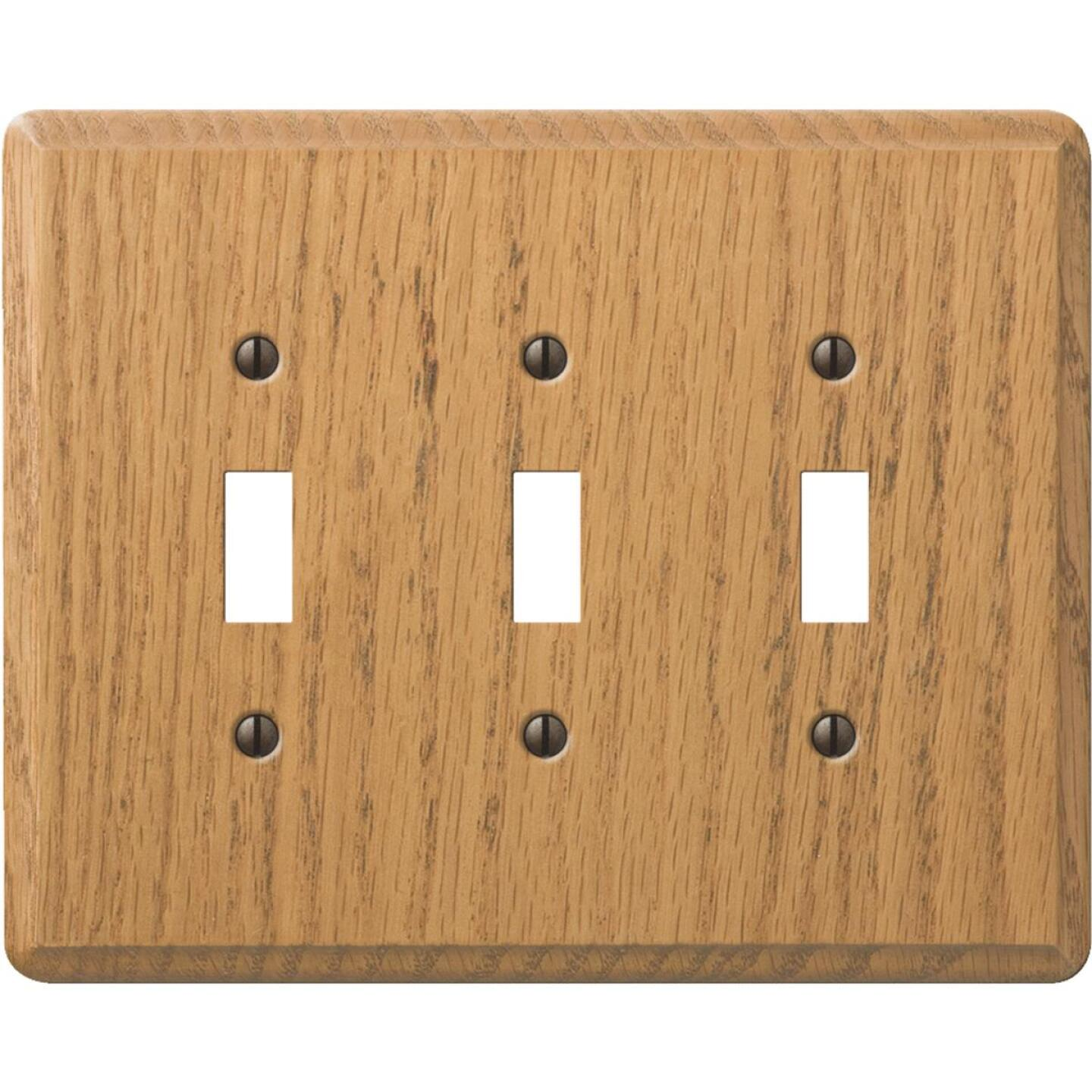 Amerelle 3-Gang Solid Oak Toggle Switch Wall Plate, Light Oak Image 1