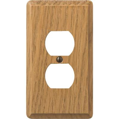 Amerelle 1-Gang Solid Oak Outlet Wall Plate, Light Oak
