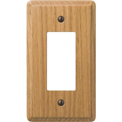 Amerelle 1-Gang Solid Oak Rocker Decorator Wall Plate, Light Oak