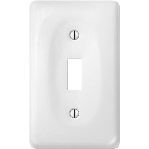 Amerelle 1-Gang Ceramic Toggle Switch Wall Plate, White