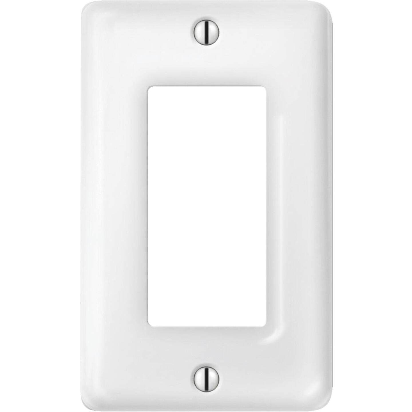 Amerelle 1-Gang Ceramic Rocker Decorator Wall Plate, White Image 1