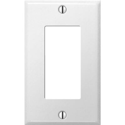 Amerelle PRO 1-Gang Stamped Steel Rocker Decorator Wall Plate, Smooth White