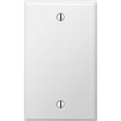 Amerelle 1-Gang Standard Stamped Steel Blank Wall Plate, Smooth White