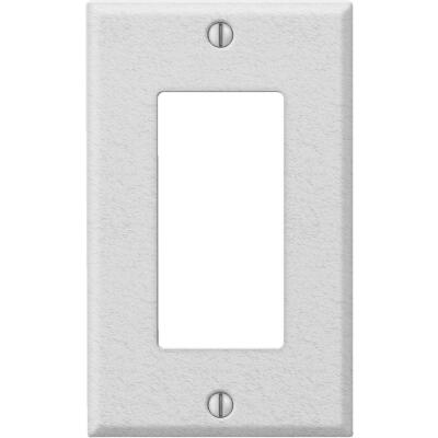Amerelle PRO 1-Gang Stamped Steel Rocker Decorator Wall Plate, White Wrinkle