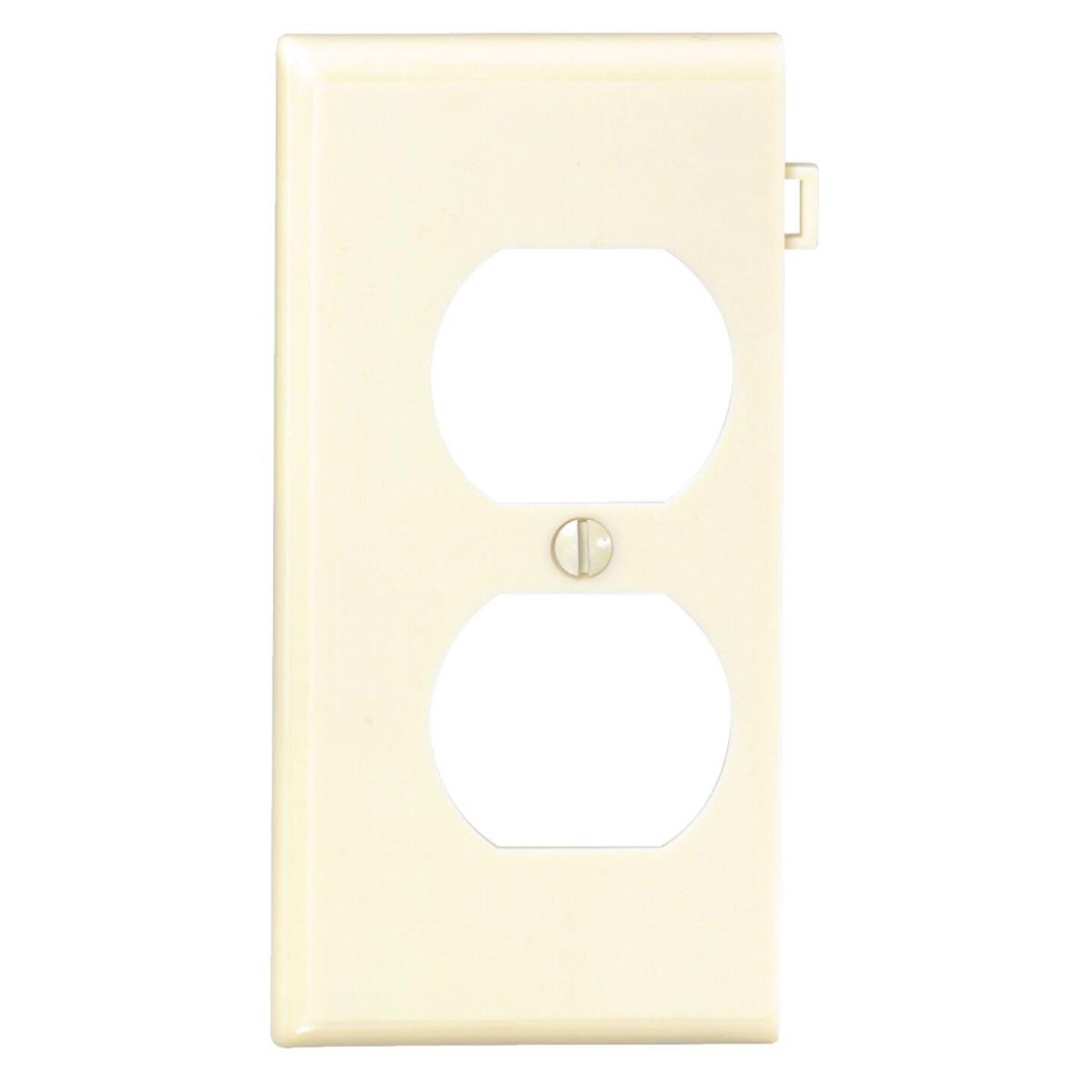 Leviton Duplex End Sectional 1-Gang Plastic Outlet Wall Plate, Ivory Image 1