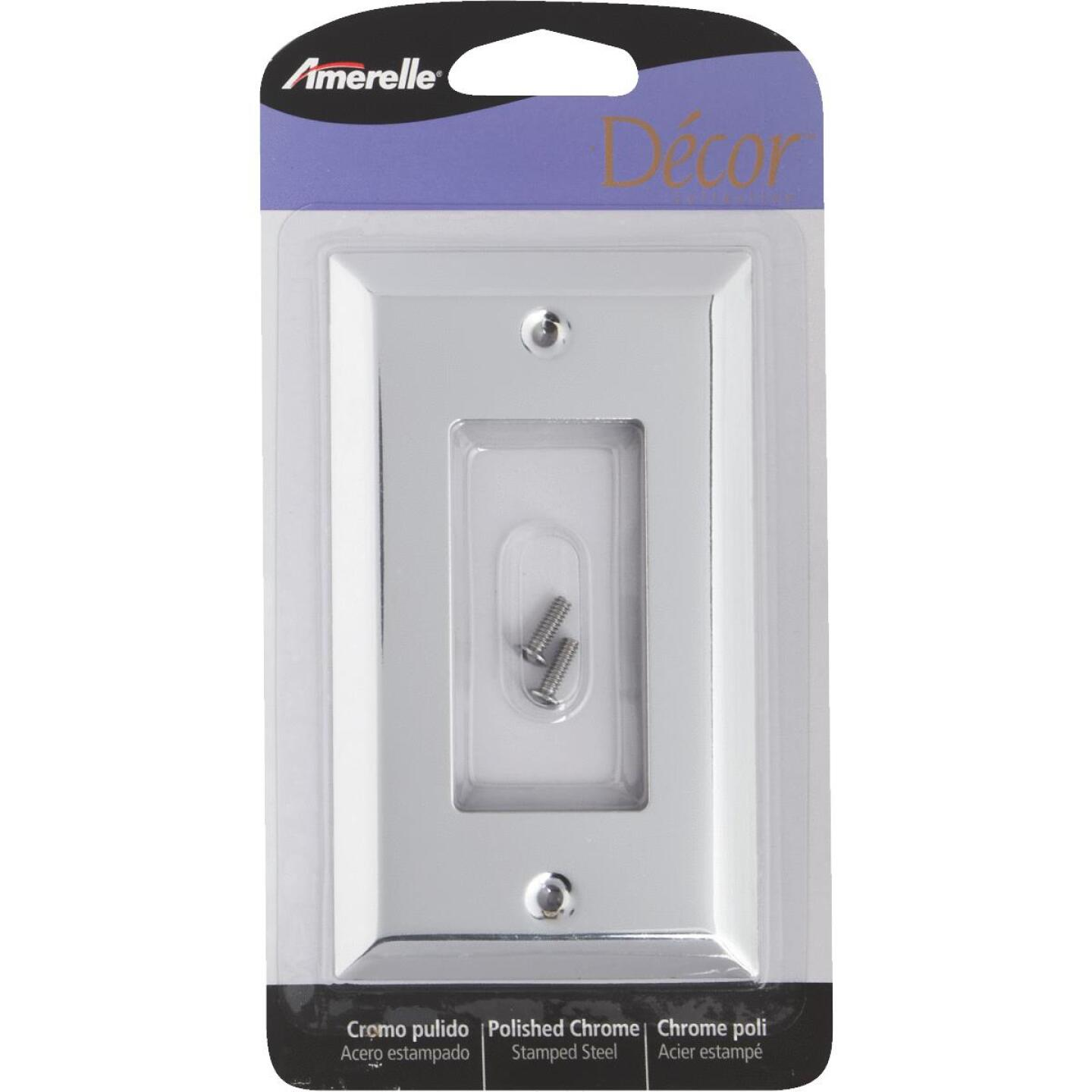 Amerelle 1-Gang Stamped Steel Rocker Decorator Wall Plate, Polished Chrome Image 2