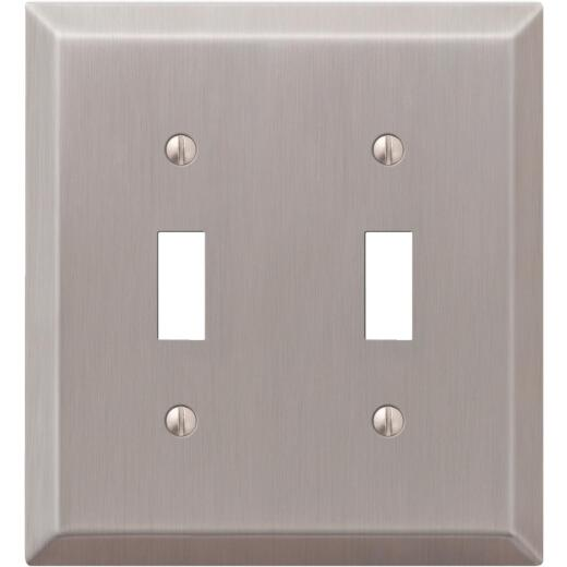 Amerelle 2-Gang Stamped Steel Toggle Switch Wall Plate, Brushed Nickel