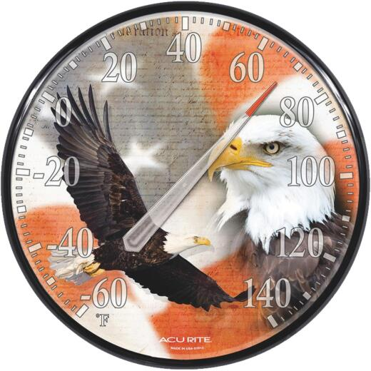 """Acurite 12.5"""" Dia Plastic Dial Eagle/Flag Indoor & Outdoor Thermometer"""