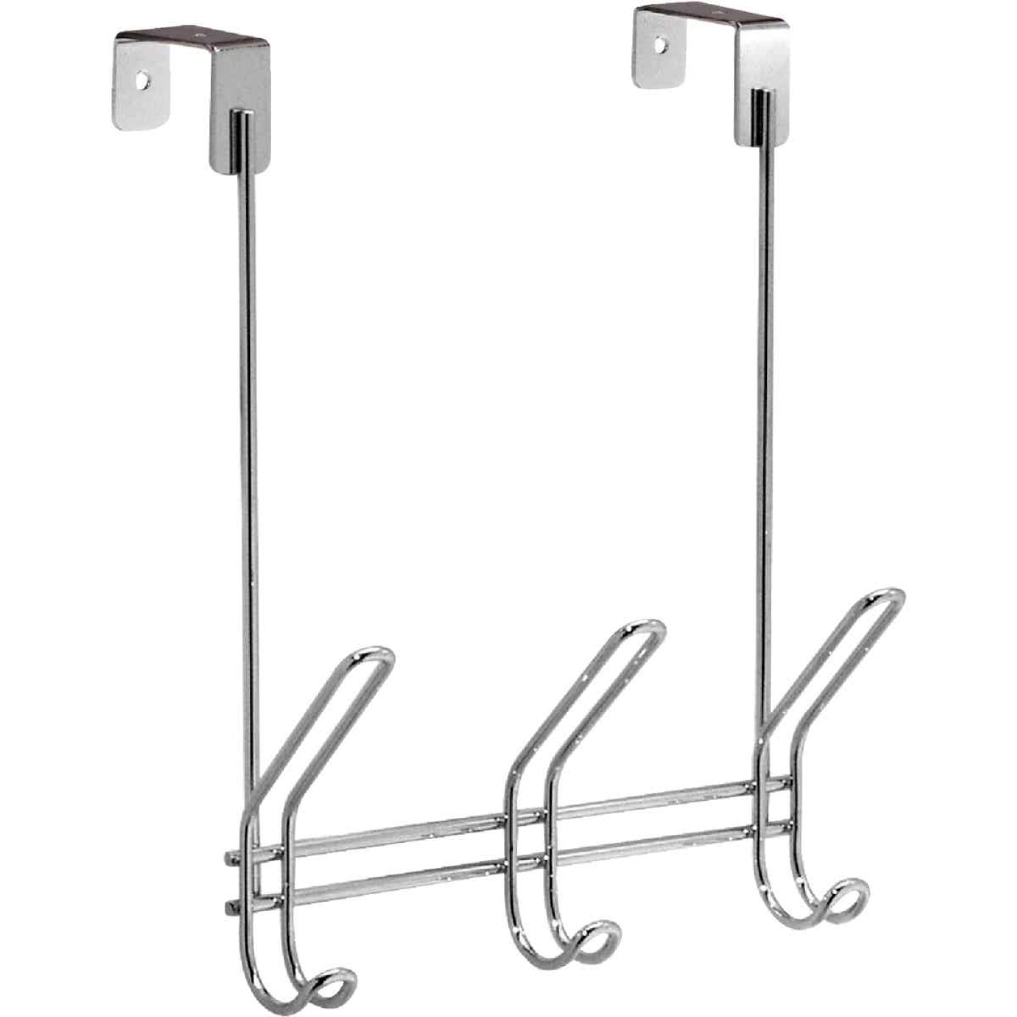 InterDesign Classico Over-The-Door Chrome 3-Hook Rail Image 1