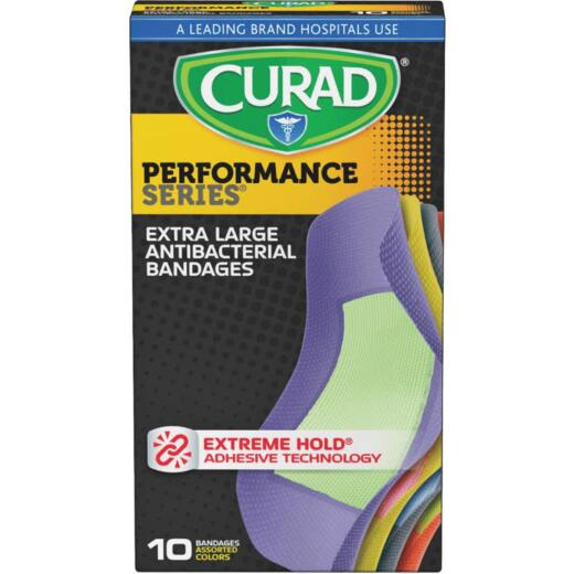 Curad Performance Series Antibacterial Bandages, XL, 2 In. x 4 In., Assorted Colors (10 Ct)