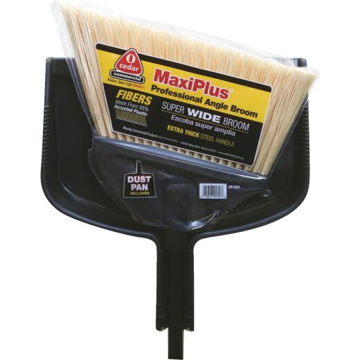O-Cedar MaxiPlus 14 In. W. x 56 In. L. Steel Handle Angle Household Broom with Dustpan