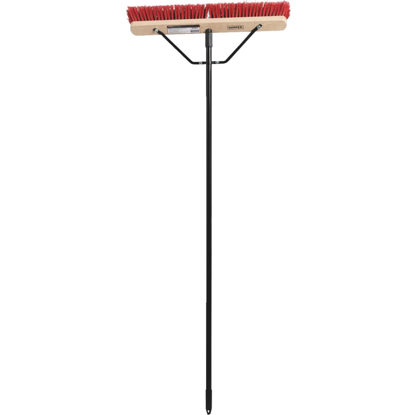 Harper 24 In. Red Bordered Indoor/Outdoor Block Push Broom with Steel Brace Image 2