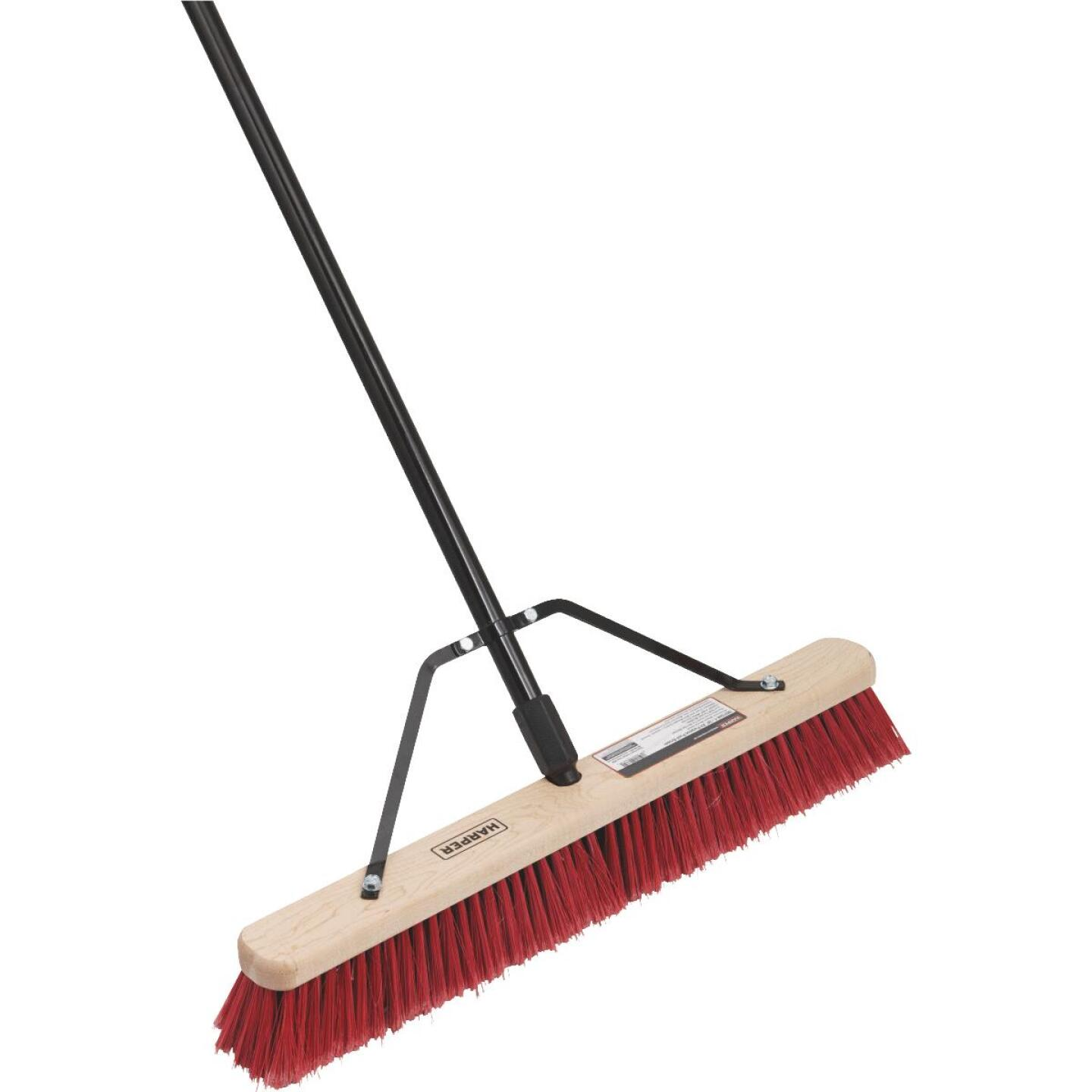 Harper 24 In. Red Bordered Indoor/Outdoor Block Push Broom with Steel Brace Image 1