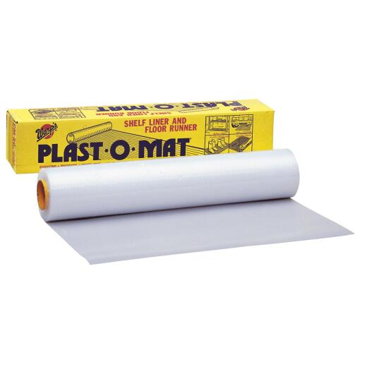 Plast-O-Mat 30 In. W x 50 Ft. L White Ribbed Floor Runner/Carpet Protector