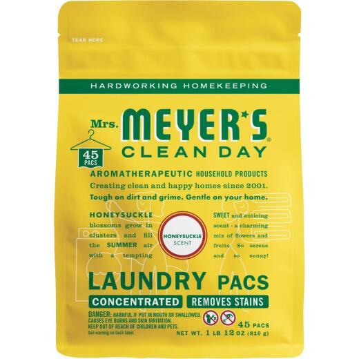 Mrs. Meyer's 45 Load Honeysuckle Clean Day Laundry Pod Detergent