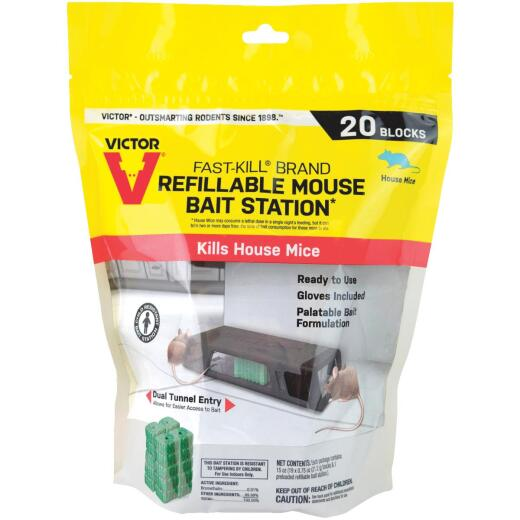 Victor Fast-Kill Refillable Mouse Bait Station (20-Refill)