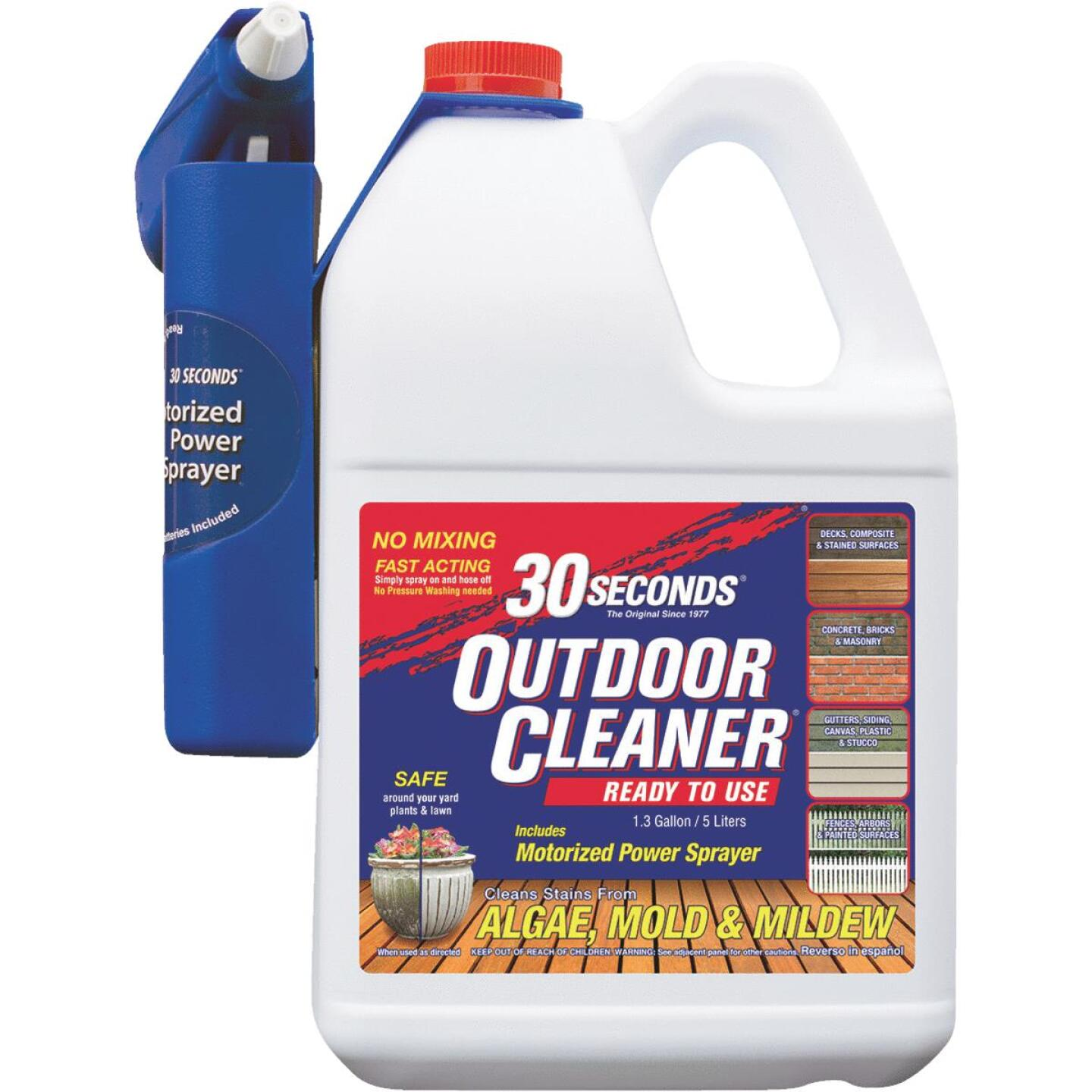 30 seconds Outdoor Cleaner 1.3 Gal. Ready To Use Power Sprayer Algae, Mold & Mildew Stain Remover Image 1