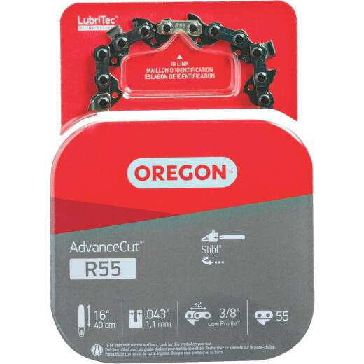 Oregon AdvanceCut LubriTec R55 16 In. 3/8 In. Low Profile 55 Link Chainsaw Chain