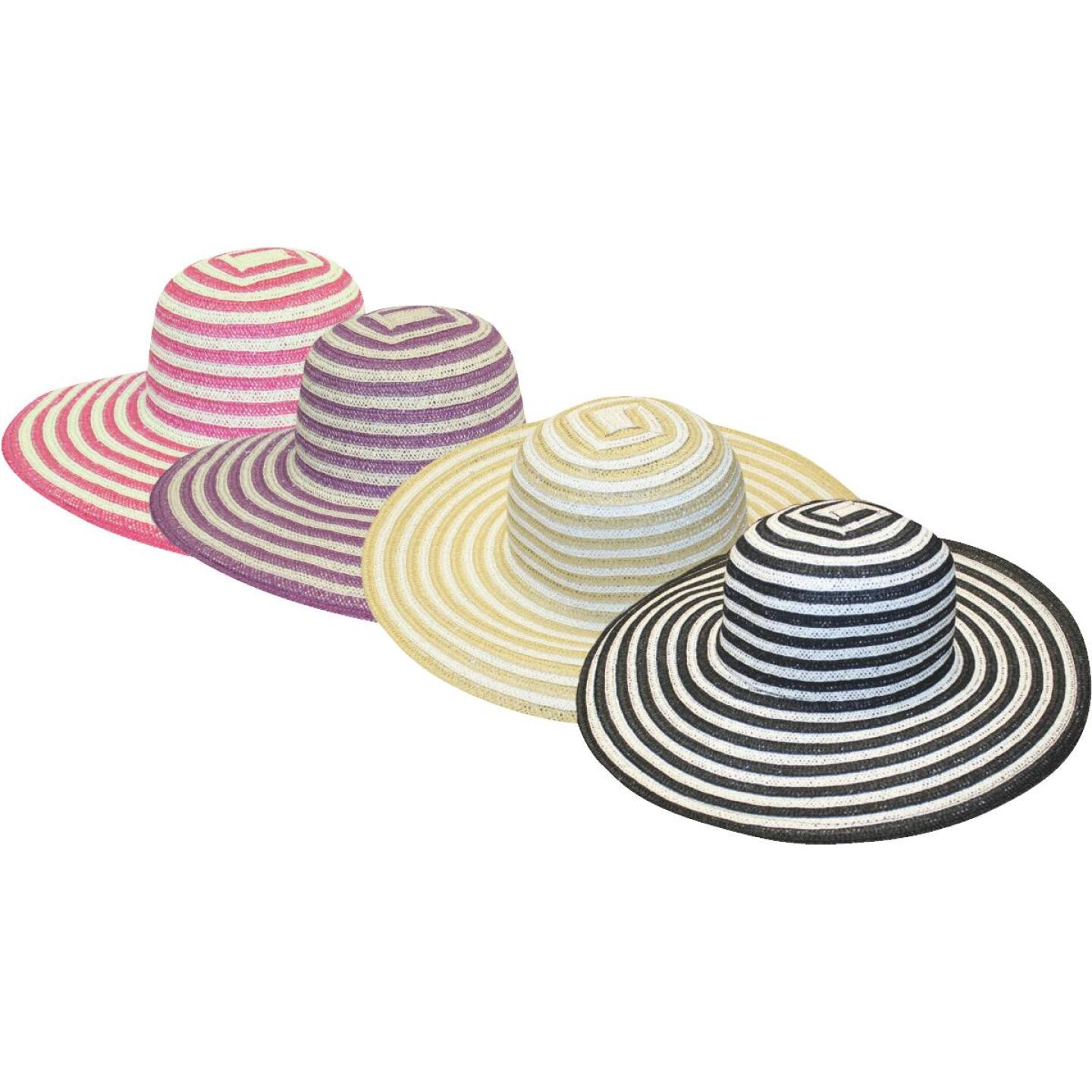 Midwest Quality Glove Women's Assorted Stripe Straw Sun Hat Image 1