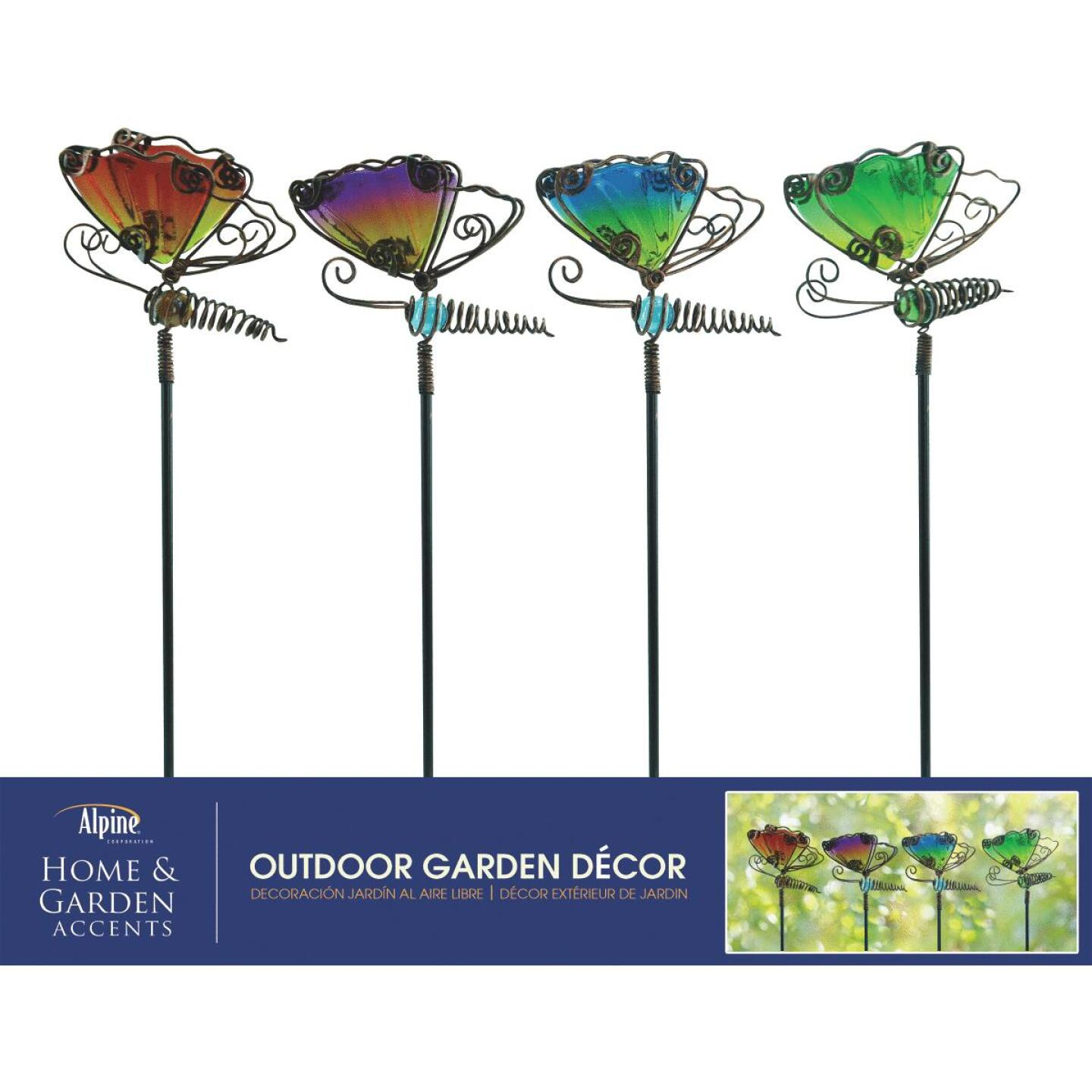 Alpine 15 In. H. Metal & Glass Wiggle Motion Butterfly Garden Stake Lawn Ornament Image 3