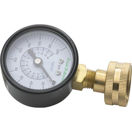 Rain Bird 0 to 200 psi Brass 3/4 In. FHT Water Pressure Gauge