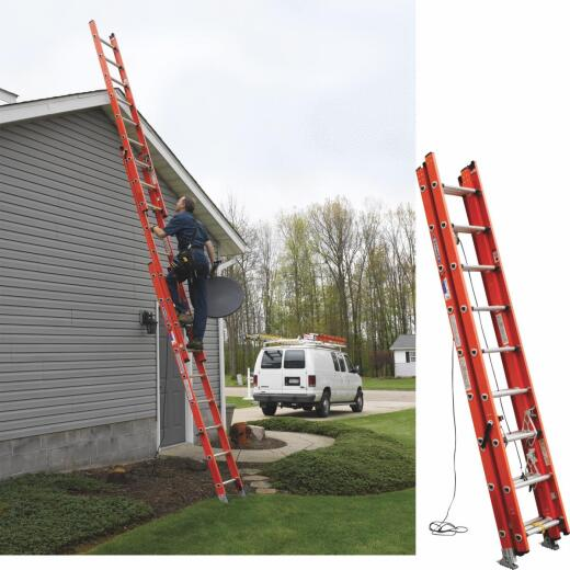Werner 24 Ft. Compact Fiberglass Extension Ladder with 300 Lb. Load Capacity Type IA Duty Rating