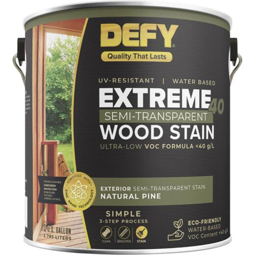 Defy Extreme 40 VOC-Compliant Semi-Transparent Exterior Wood Stain, Natural Pine, 1 Gal.