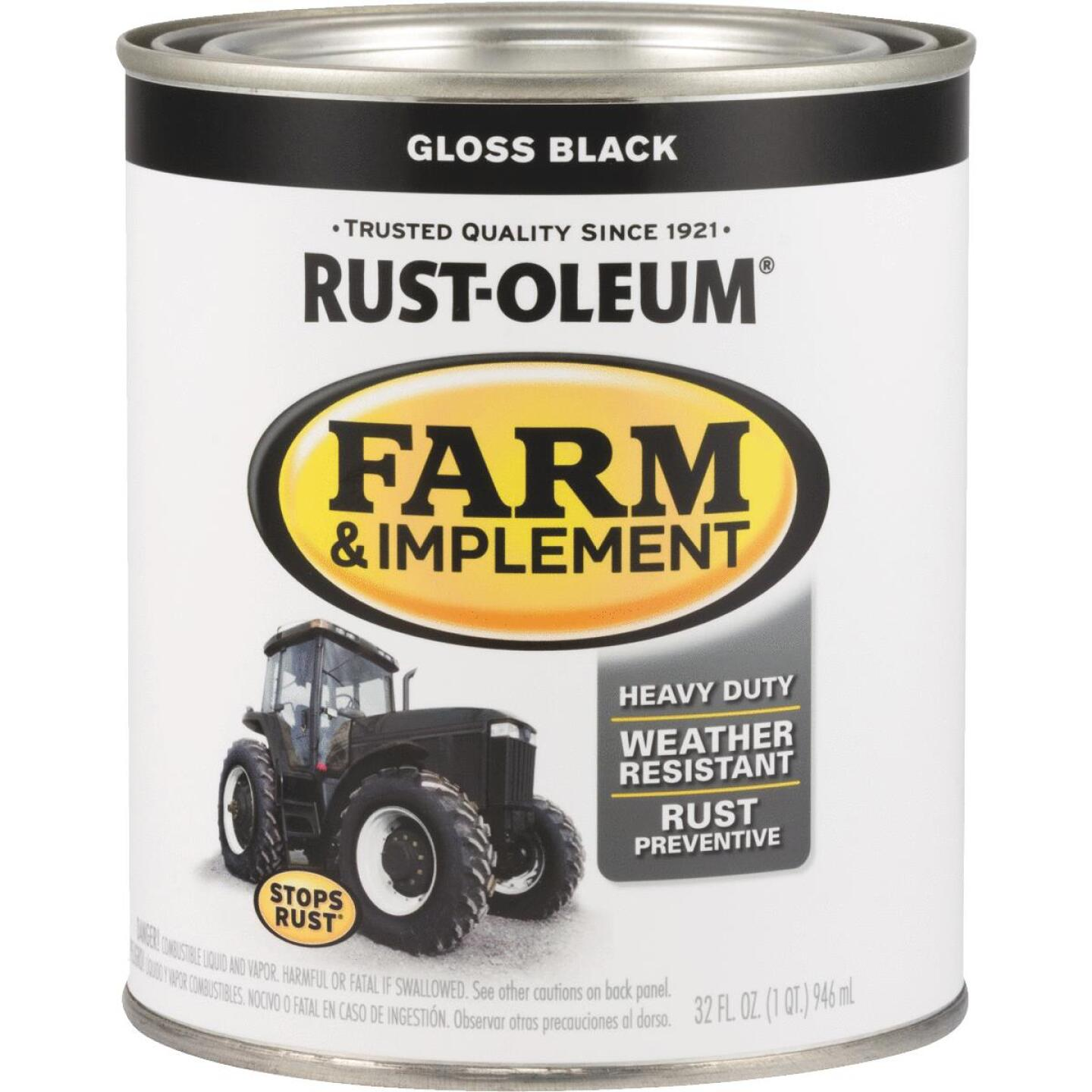Rust-Oleum 1 Quart Black Gloss Farm & Implement Enamel Image 1