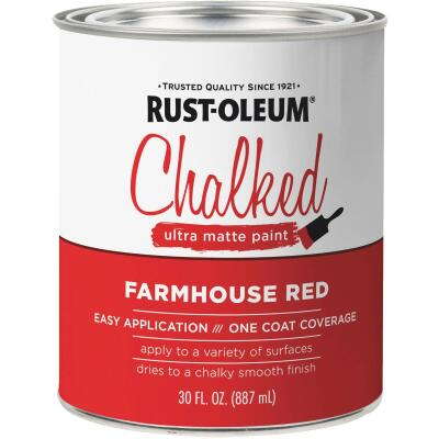 Rust-Oleum Chalked Ultra Matte Farmhouse Red 30 Oz. Chalk Paint