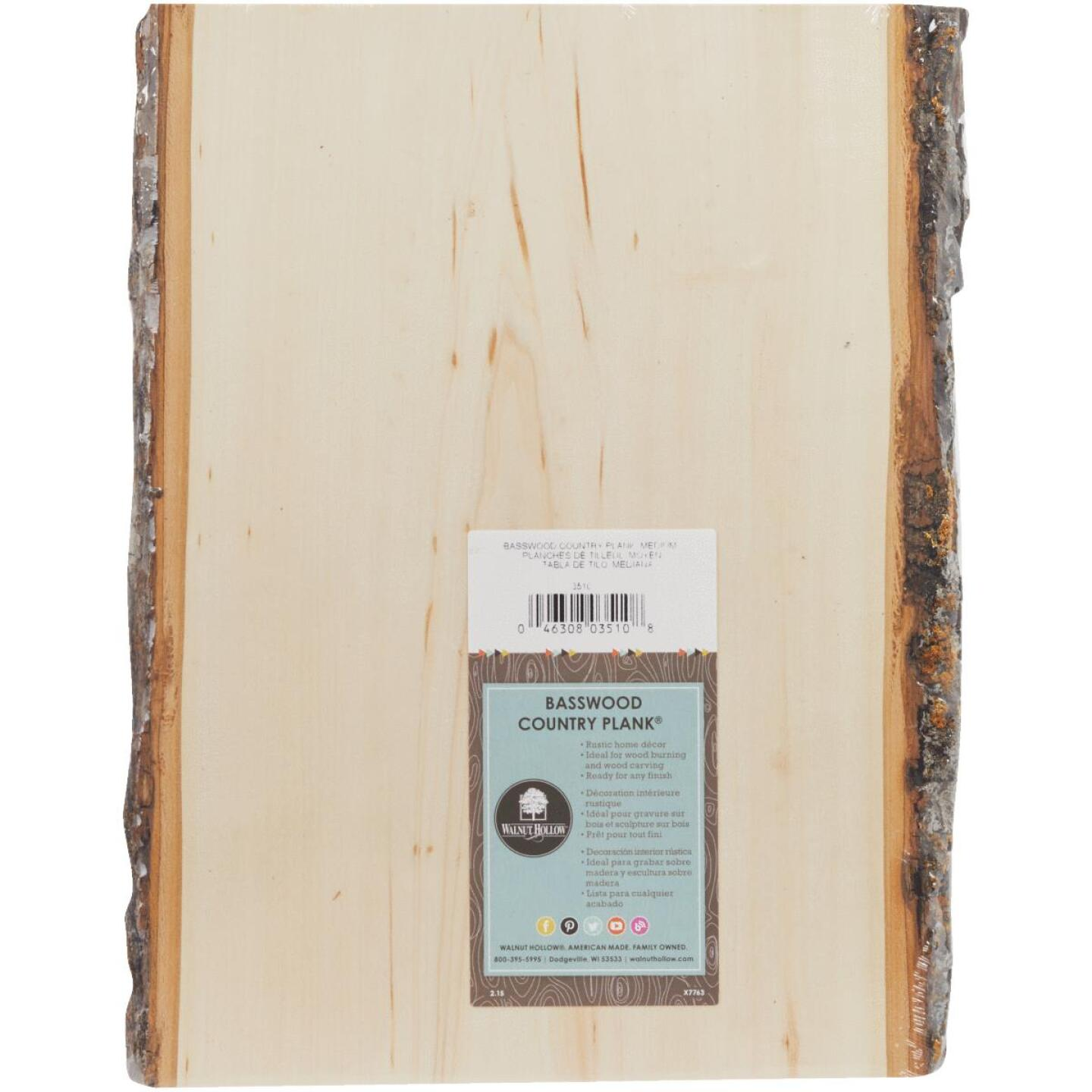 Walnut Hollow Basswood Country Planks 9 to 11 In. W x 13 In. H. Live Edge Plank Image 2