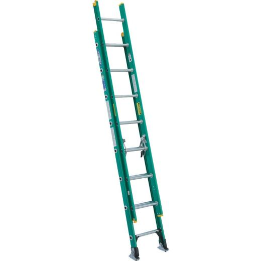 Werner 16 Ft. Fiberglass Extension Ladder with 225 Lb. Load Capacity Type II Duty Rating