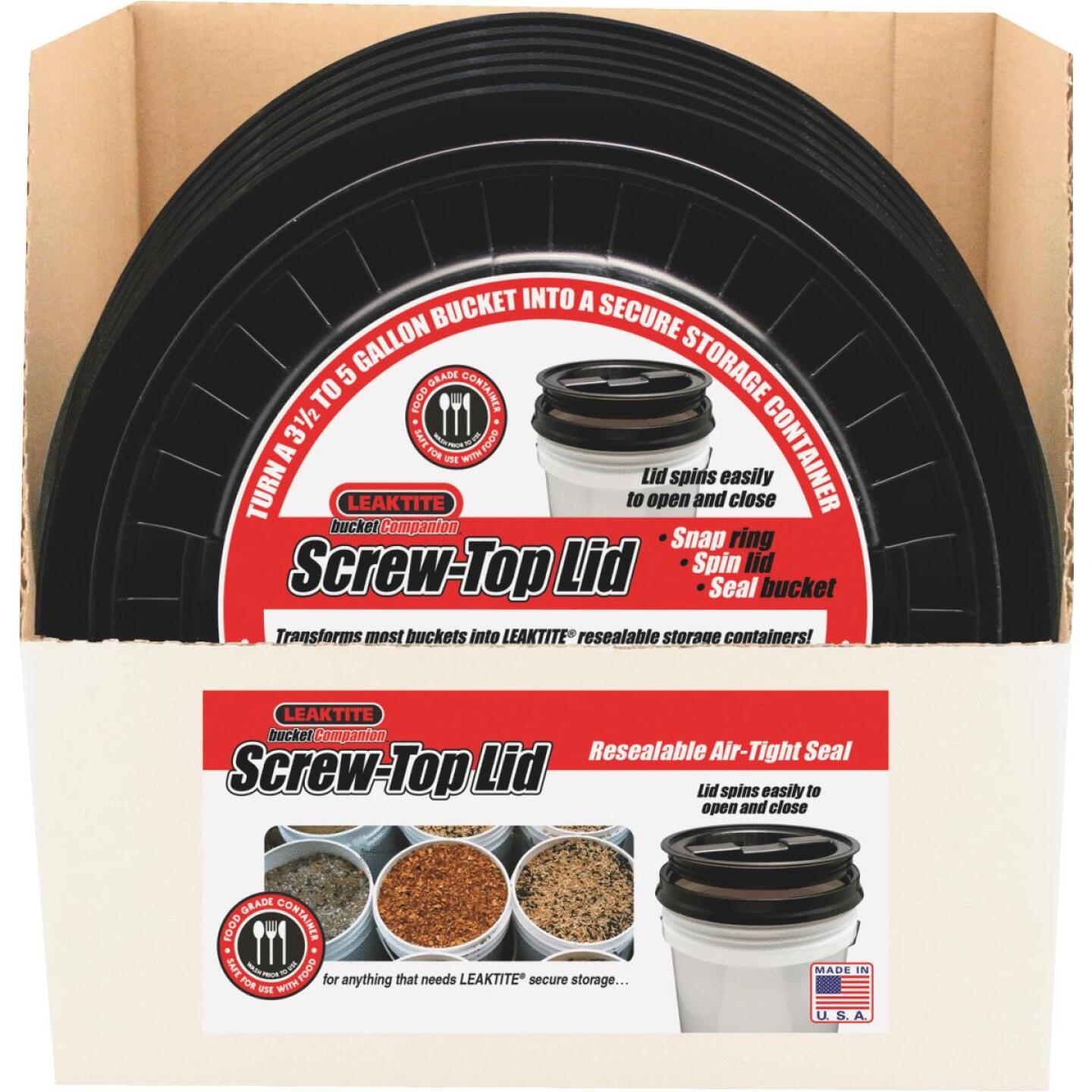 Leaktite 3.5 & 5 Gallon Pail Screw Top Lid Image 2