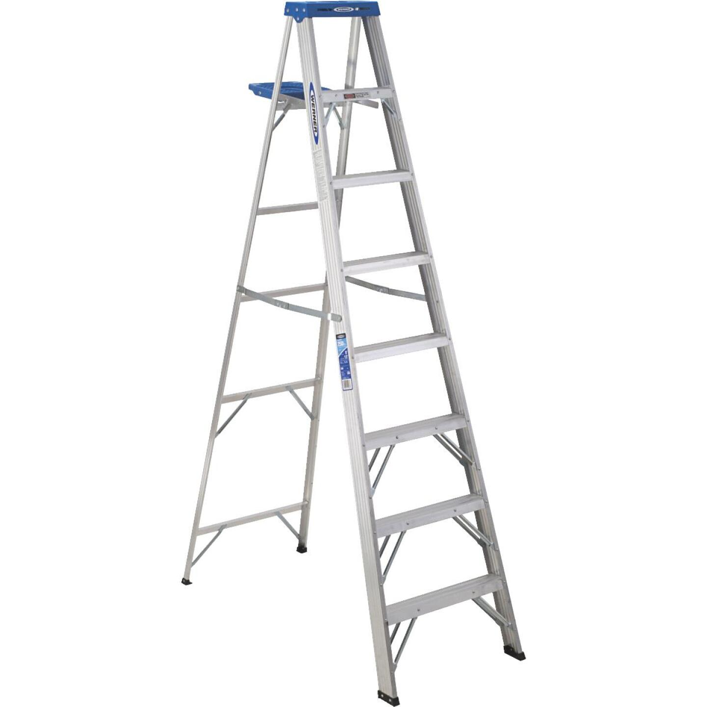 Werner 8 Ft. Aluminum Step Ladder with 250 Lb. Load Capacity Type I Ladder Rating Image 1