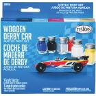 Testors Wooden Derby Car Acrylic Paint Set (Blue, Black, Silver, Red, White, Yellow) Image 1