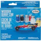 Testors Wooden Derby Car Acrylic Paint Set (Blue, Black, Silver, Red, White, Yellow) Image 2