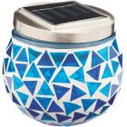 Outdoor Expressions 3.5 In. H. x 3.5 In. Dia. Blue or Purple Tile Tabletop Solar Patio Light Image 3