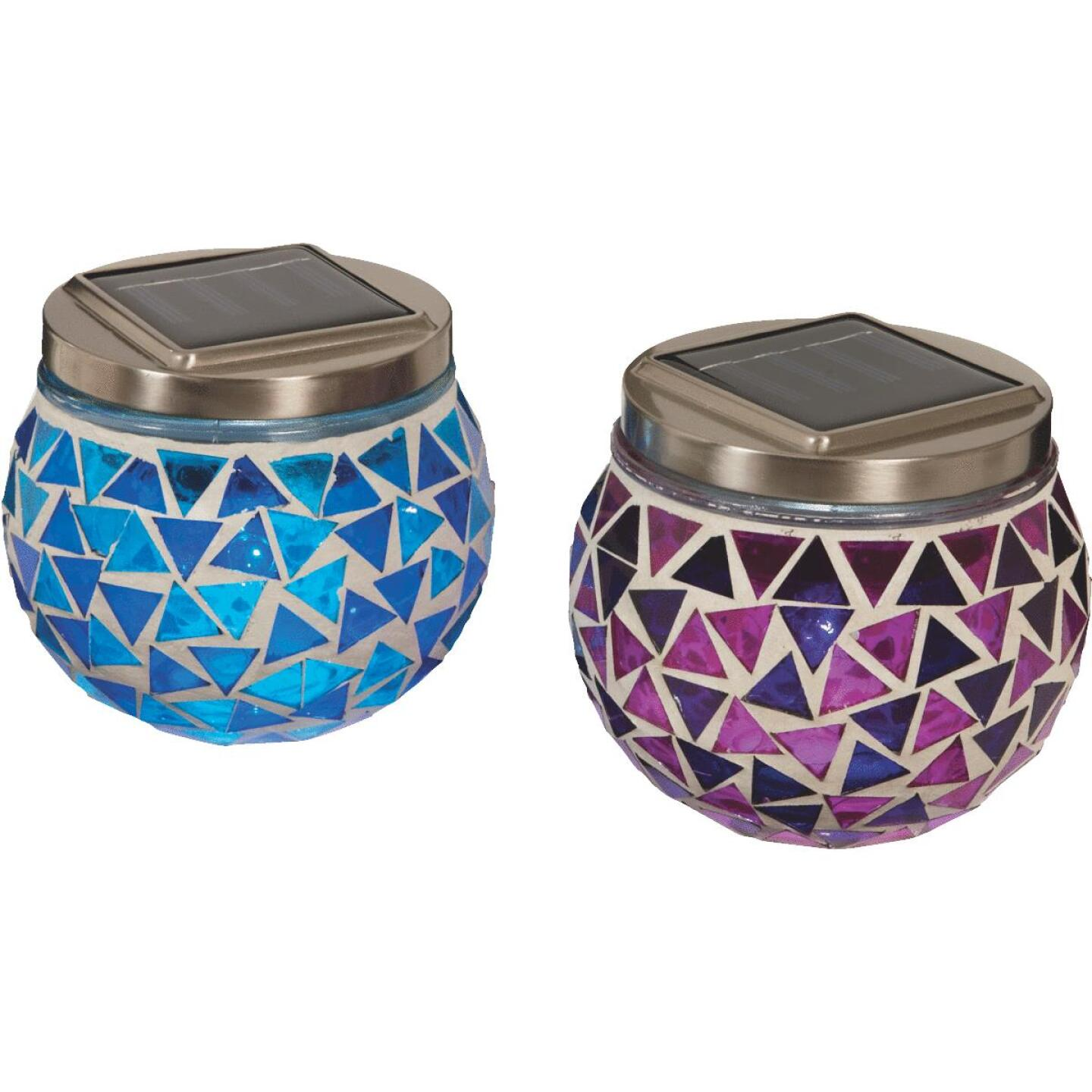 Outdoor Expressions 3.5 In. H. x 3.5 In. Dia. Blue or Purple Tile Tabletop Solar Patio Light Image 1