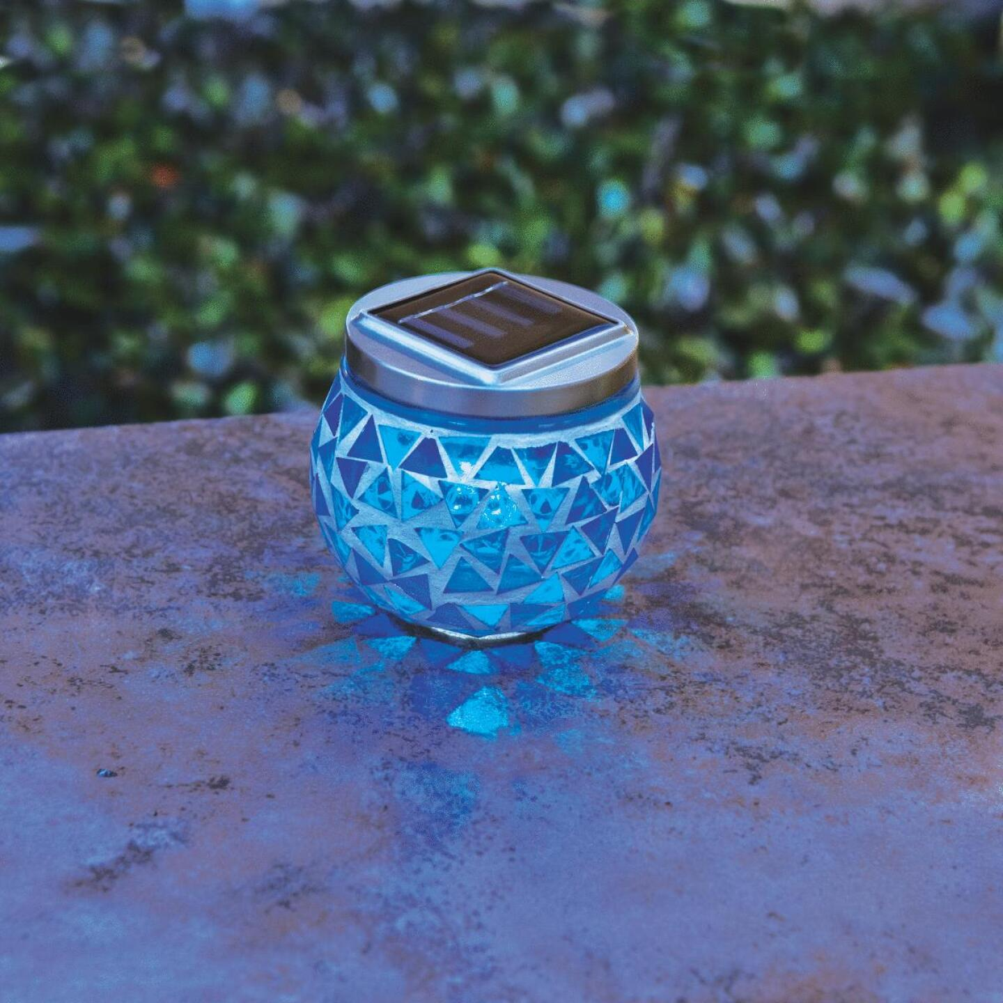 Outdoor Expressions 3.5 In. H. x 3.5 In. Dia. Blue or Purple Tile Tabletop Solar Patio Light Image 8