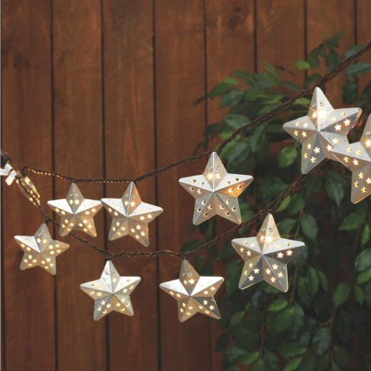 Everlasting Glow 8.5 Ft. 10-Light Warm White Silver Galvanized Star String Lights