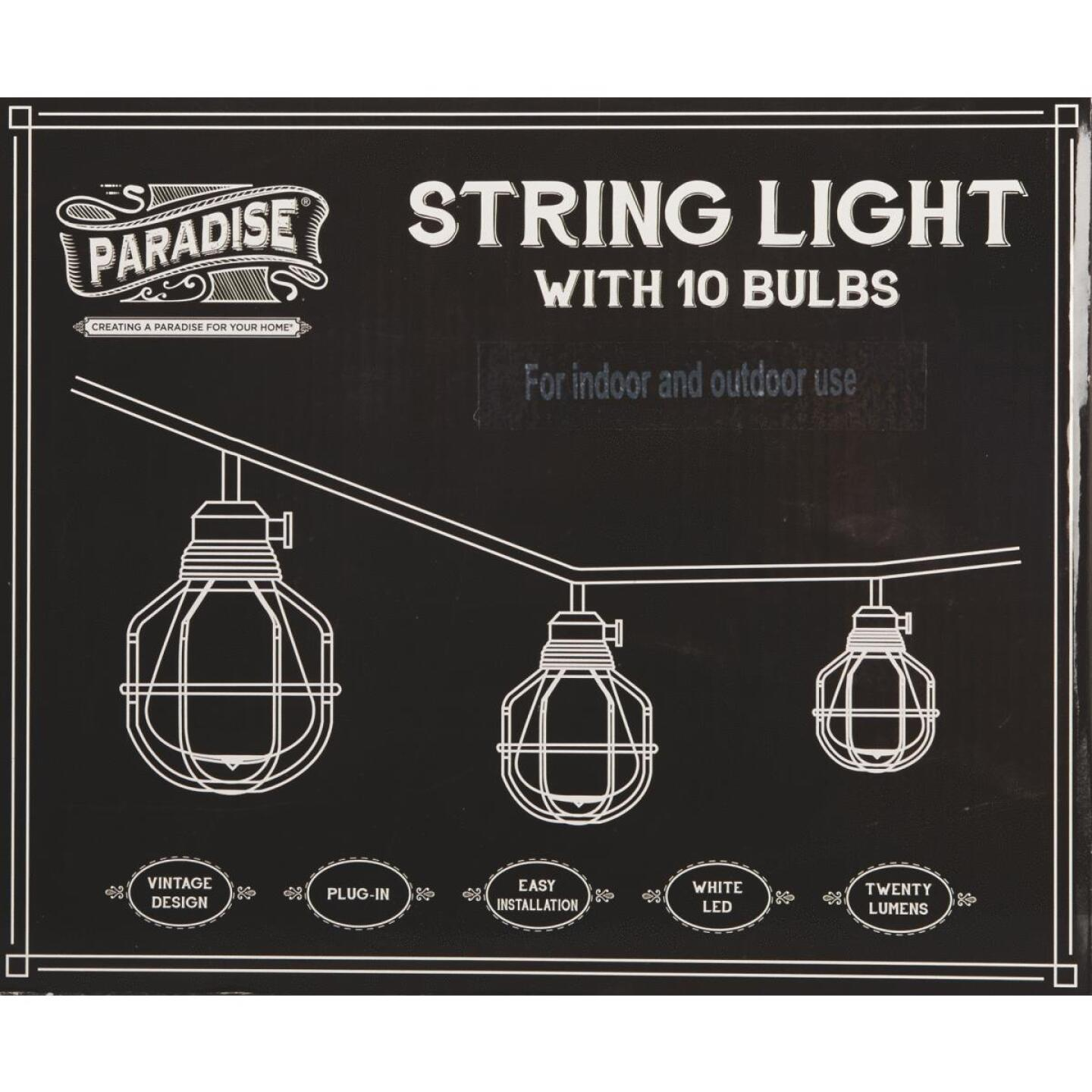 Paradise 10.5 Ft. 10-Light Warm White Black Lantern String Lights Image 2