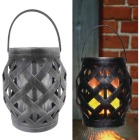 Alpine Black Diamond Weave LED Patio Lantern Image 1
