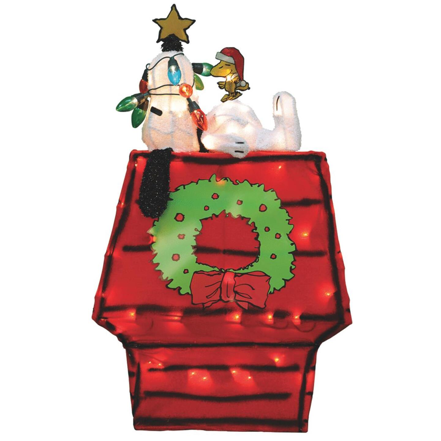 Product Works Peanuts 26 In. Incandescent Snoopy & Dog House Holiday Figure Image 1